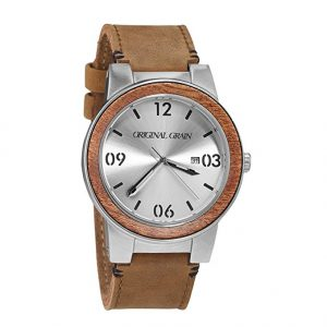 original-grain-mahogany-wood-and-silver-with-natural-italian-leather-band