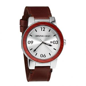 Original Grain Rosewood Watch - Brown Italian Leather Band