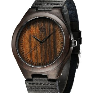Tamlee Genuine Leather Men's Wooden Quartz Watch -Black Sandalwood