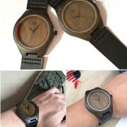 Tamlee Genuine Leather Men's Wooden Quartz Watch -Black Sandalwood (2)