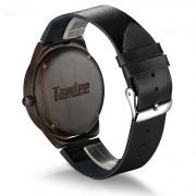 Tamlee Genuine Leather Men's Wooden Quartz Watch -Black Sandalwood (3)