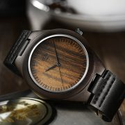 Tamlee Genuine Leather Men's Wooden Quartz Watch -Black Sandalwood (4)