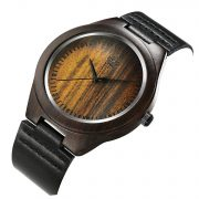 Tamlee Genuine Leather Men's Wooden Quartz Watch -Black Sandalwood (5)