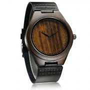 Tamlee Genuine Leather Men's Wooden Quartz Watch -Black Sandalwood (6)