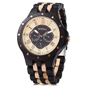 Bewell-W116C-Mens-Wooden-Watch-with-Date-Day-Luminous-Hands-Lightweight-Wristwatch-black